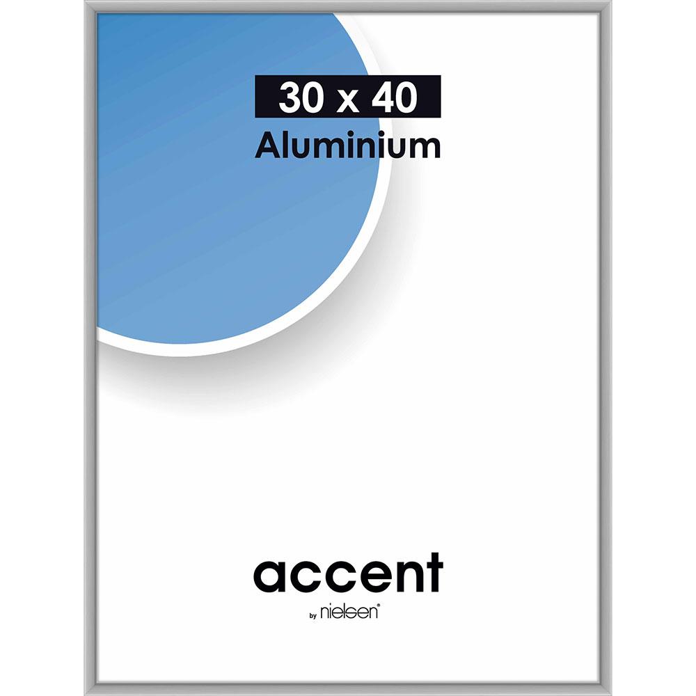Lijst van aluminium Accent 30x40 cm | zilver, mat | normaal glas