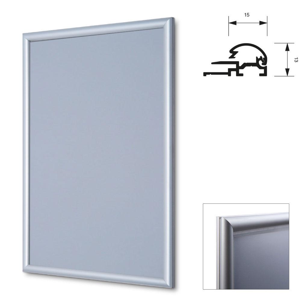 Vouwframe, 15 mm 59,4x84,1 cm (A1) | zilver, geanodiseerd | antireflecterende folie
