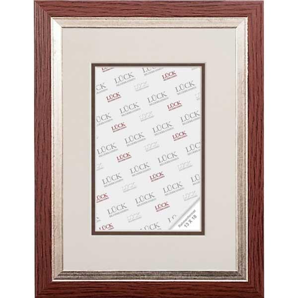Baroklijst Eppingen met passe-partout 13x18 cm (9x13 cm) | Nuss mit Silberkante | normaalglas