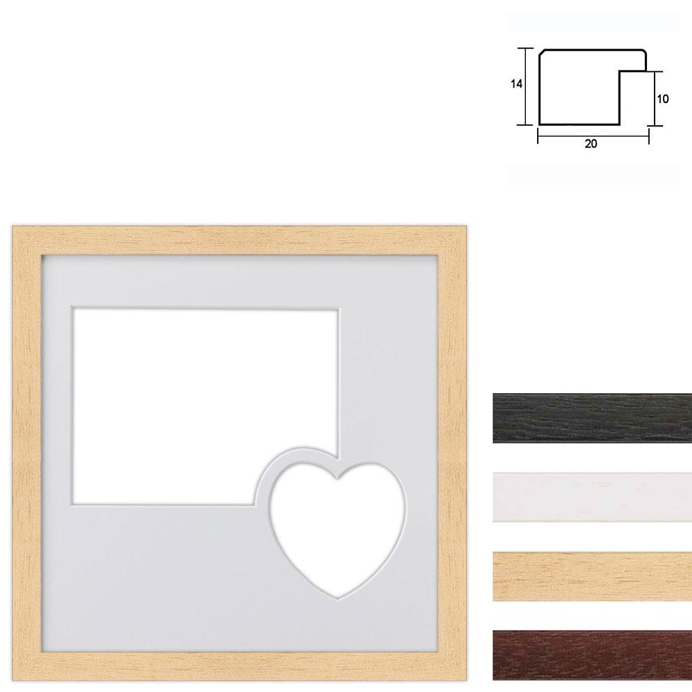 6 Foto's Galerij lijst van hout 30x30 cm met hart