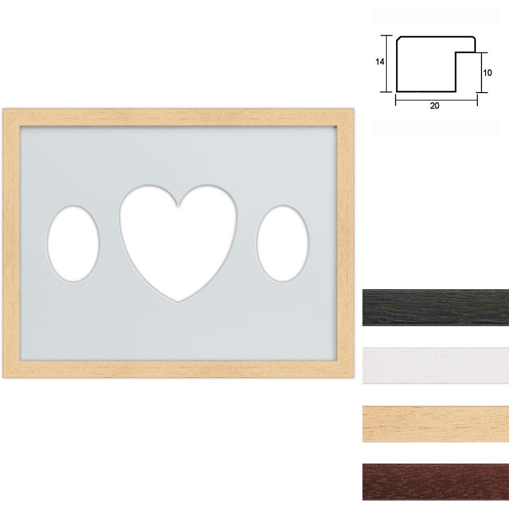 3 Foto's Galerij lijst van hout 30x40 cm ovale knipsel met hart