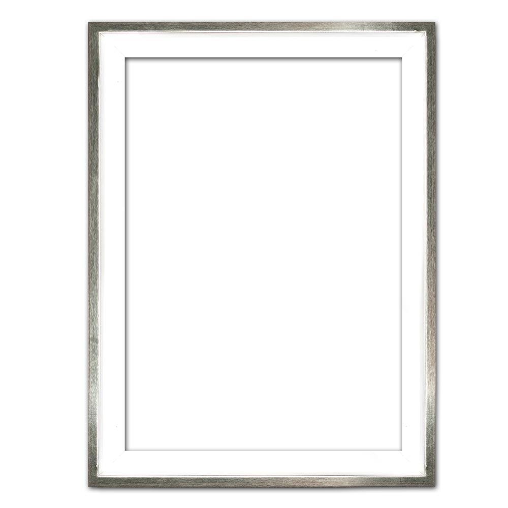 Schaduwvoeglijst Eclipse, wit 20x20 cm | wit met zilverrand | lege lijst (zonder glas en achterwand)