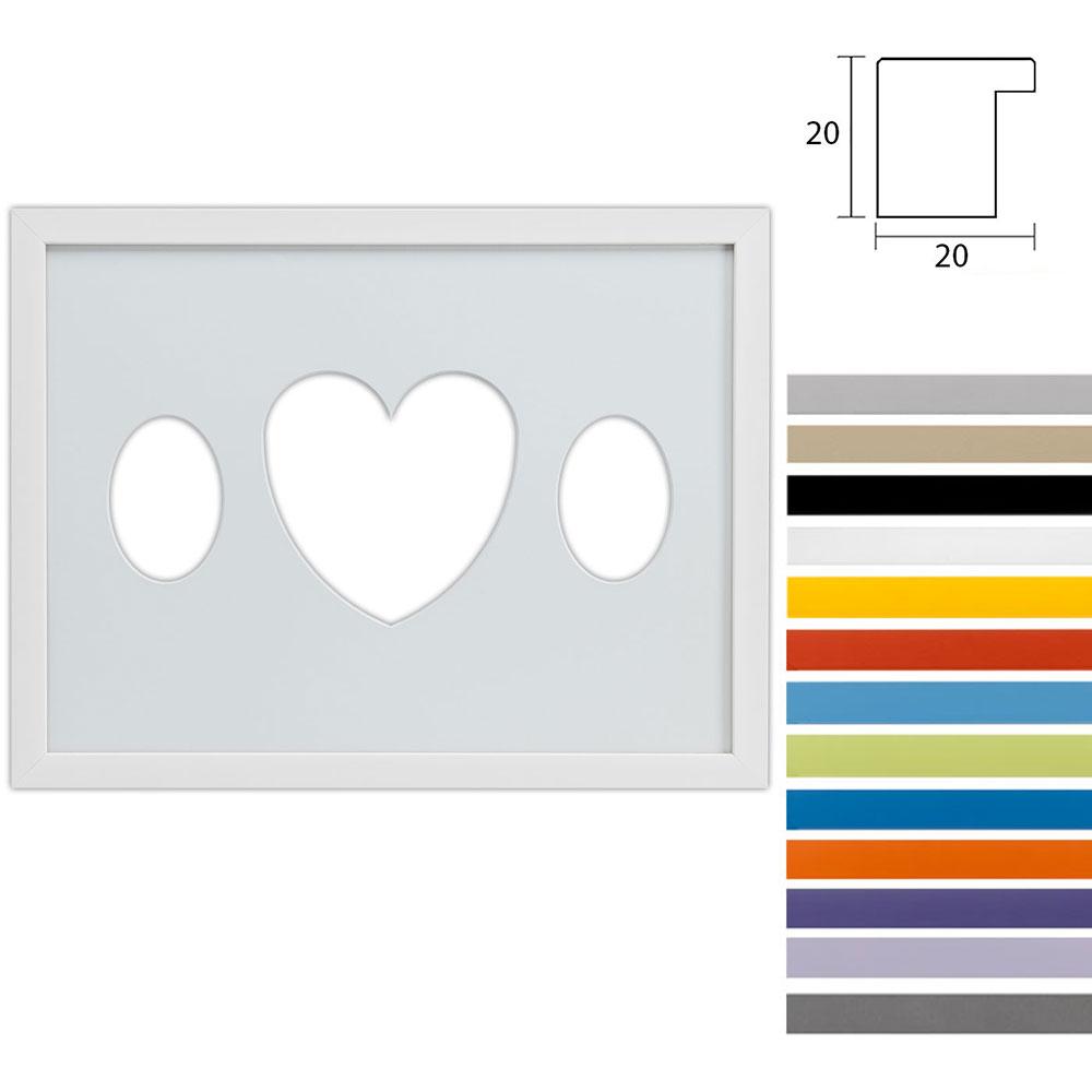 3 Foto's Gallery Top Cube, 30x40 cm ovale knipsel met hart