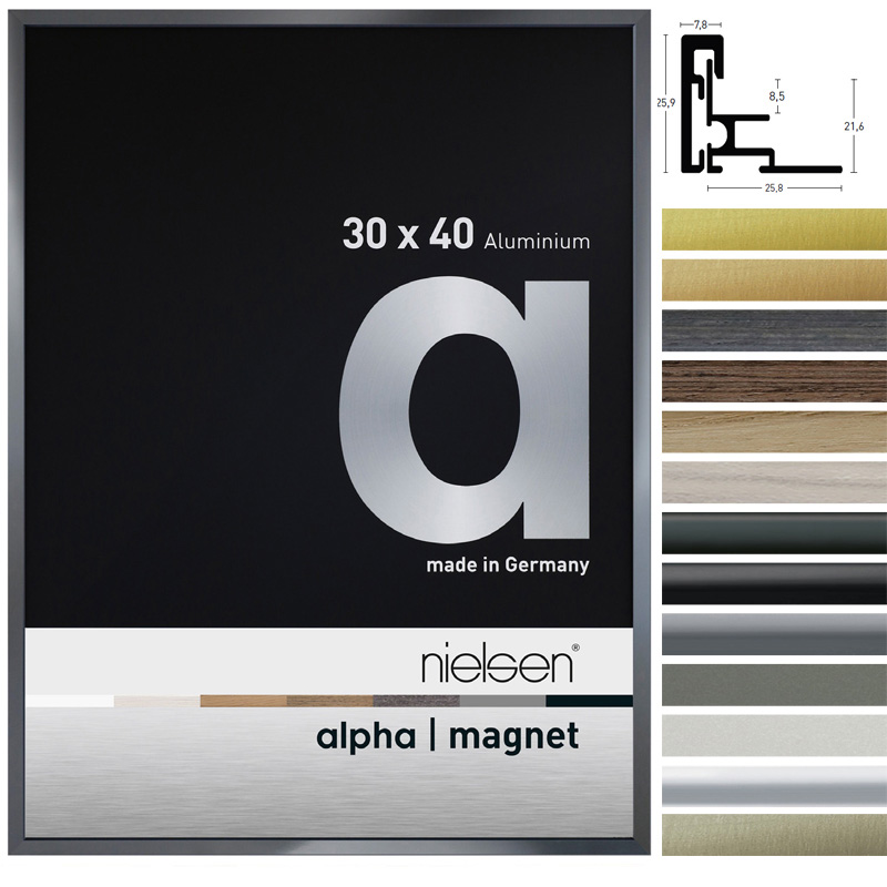 Lijst van aluminium Alpha Magneet 30x40 cm | zilver | floatglas