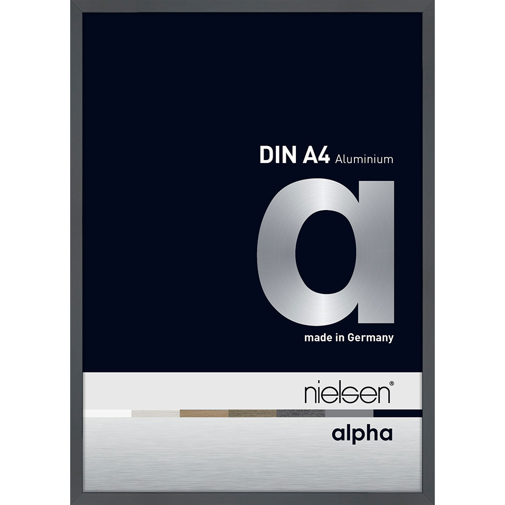 Lijst van aluminium profil alpha 21x29,7 cm (A4) | donkergrijs met glans | normaal glas