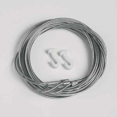 50 stukken staalkoord 1,3mm/200cm met lus voor glijdend hoeken (max. draagvermogen 7 kg)