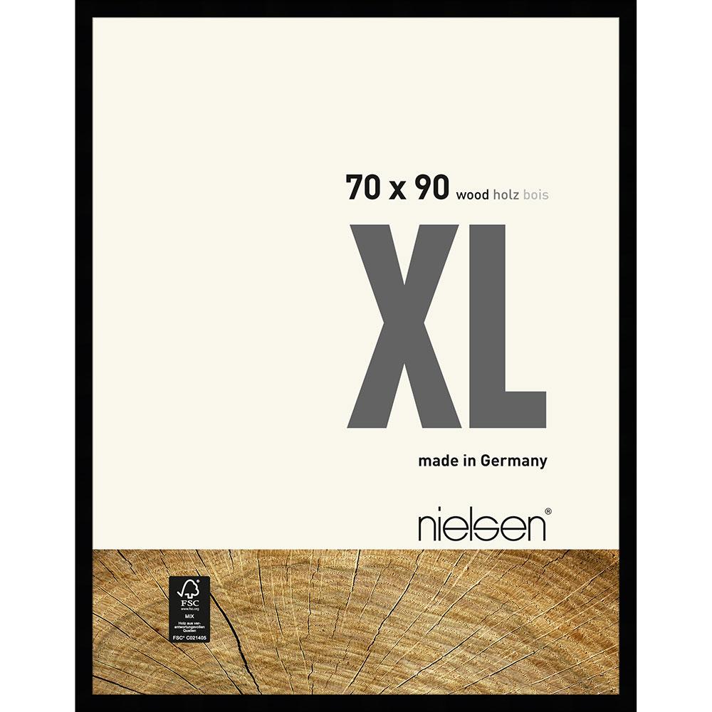 Lijst van hout Quadrum XL 70x90 cm | zwart | normaal glas