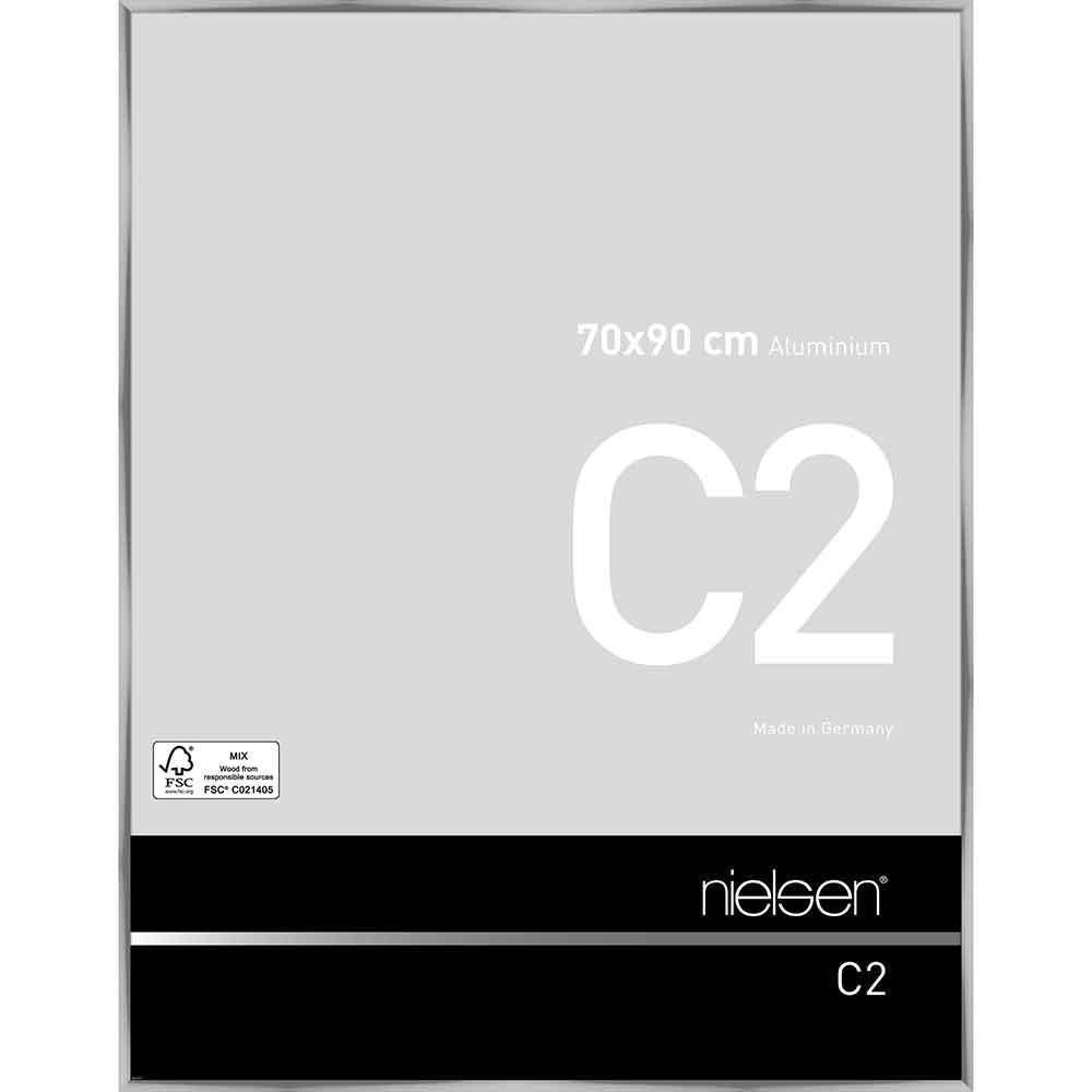 Lijst van aluminium C2 70x90 cm | zilver, glanzend | normaal glas