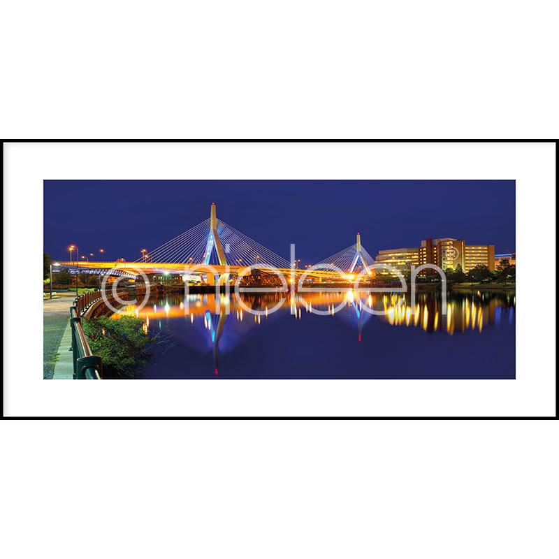 """Beeld met lijst """"Bridge at Night"""" met lijst van aluminium C2"""