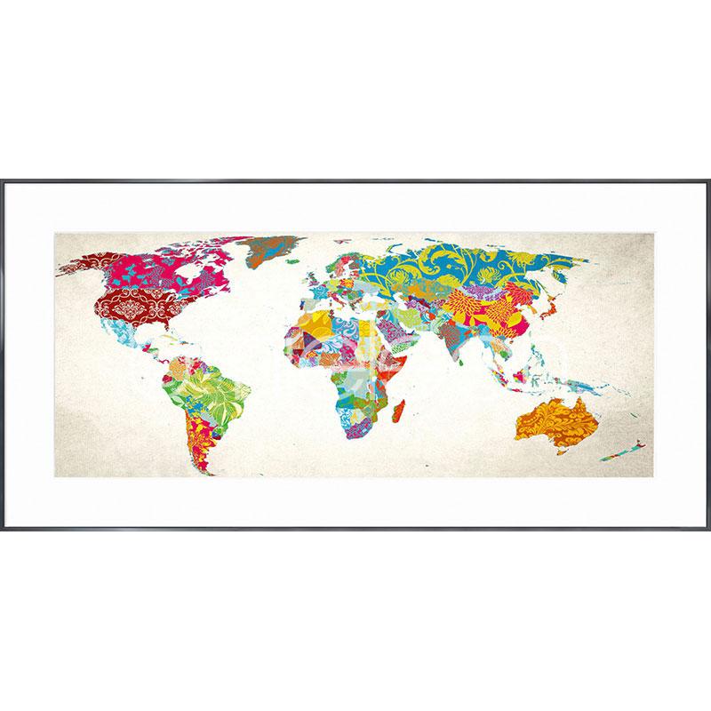 """Beeld met lijst """"World Map"""" met lijst van aluminium Alpha"""