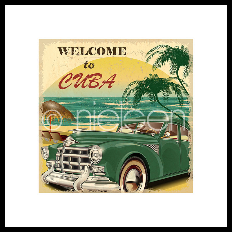 """Beeld met lijst """"Welcome to Cuba"""" met lijst van aluminium C2"""