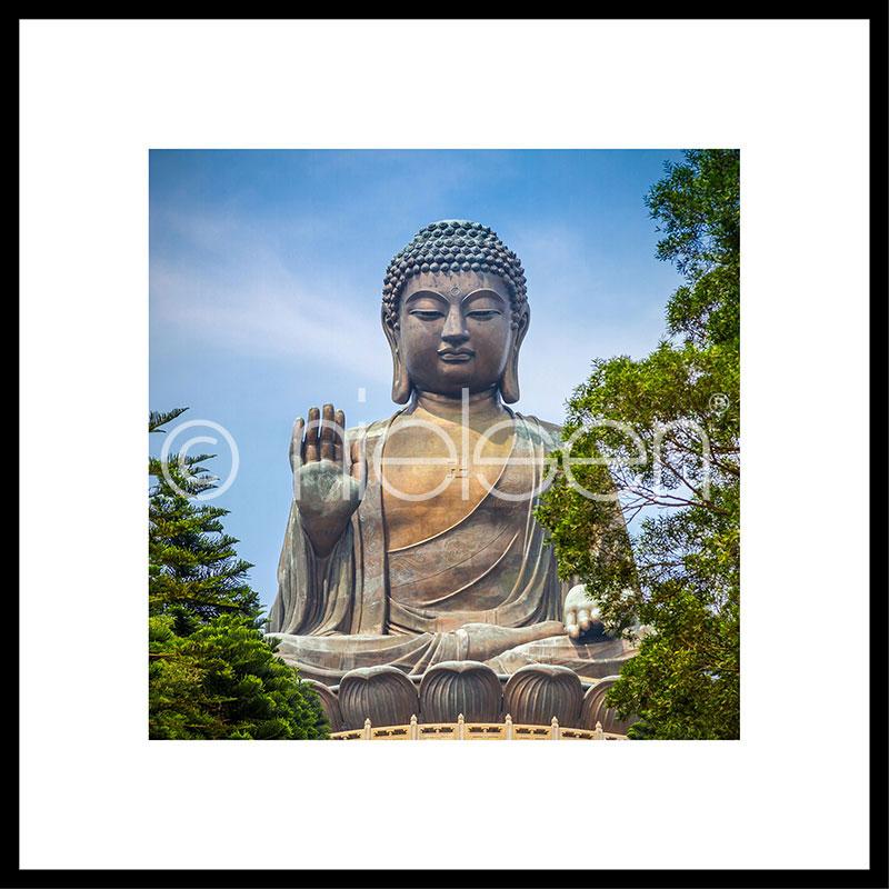 """Beeld met lijst """"Statue of Buddha"""" met lijst van aluminium C2"""
