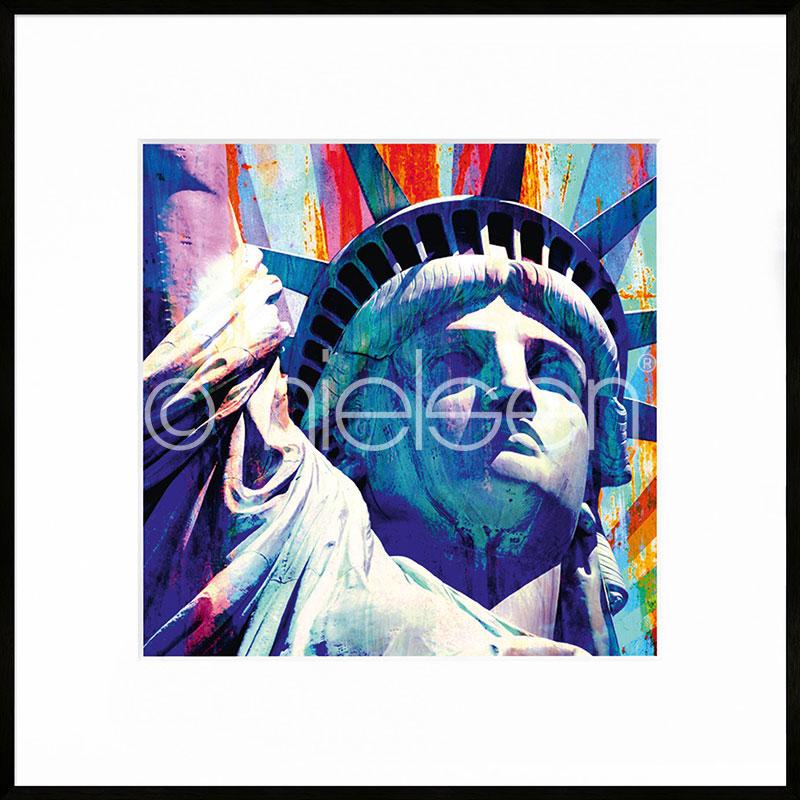 """Beeld met lijst """"Statue of Liberty"""" met lijst van aluminium C2"""