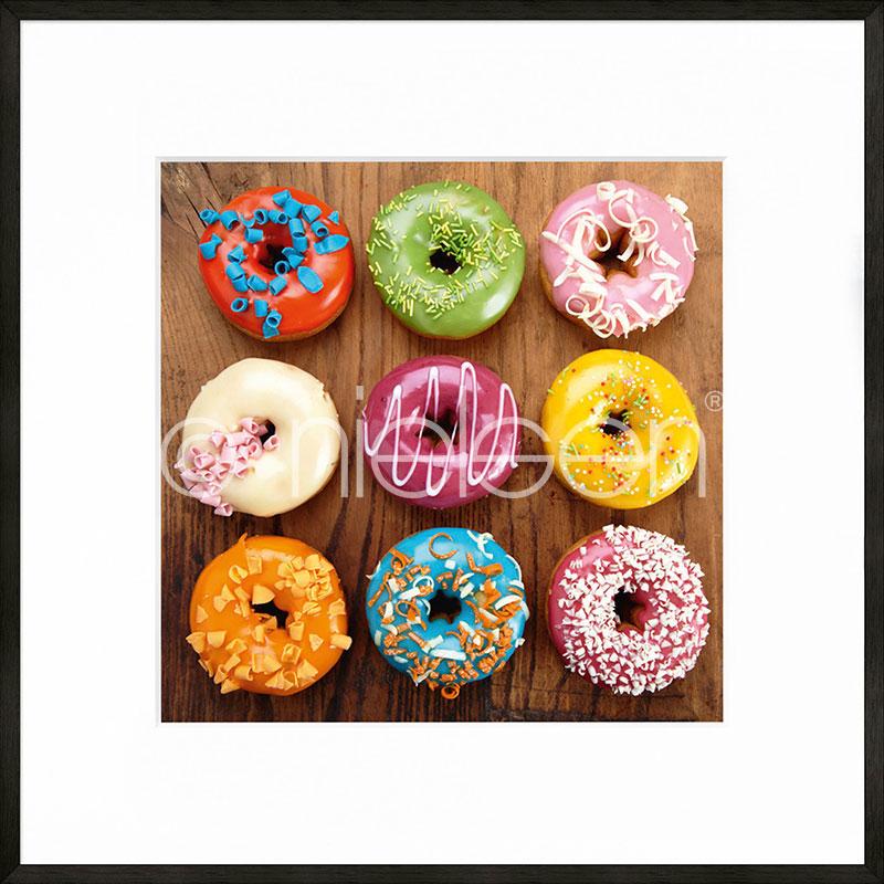 """Beeld met lijst """"Donuts"""" met lijst van aluminium C2"""