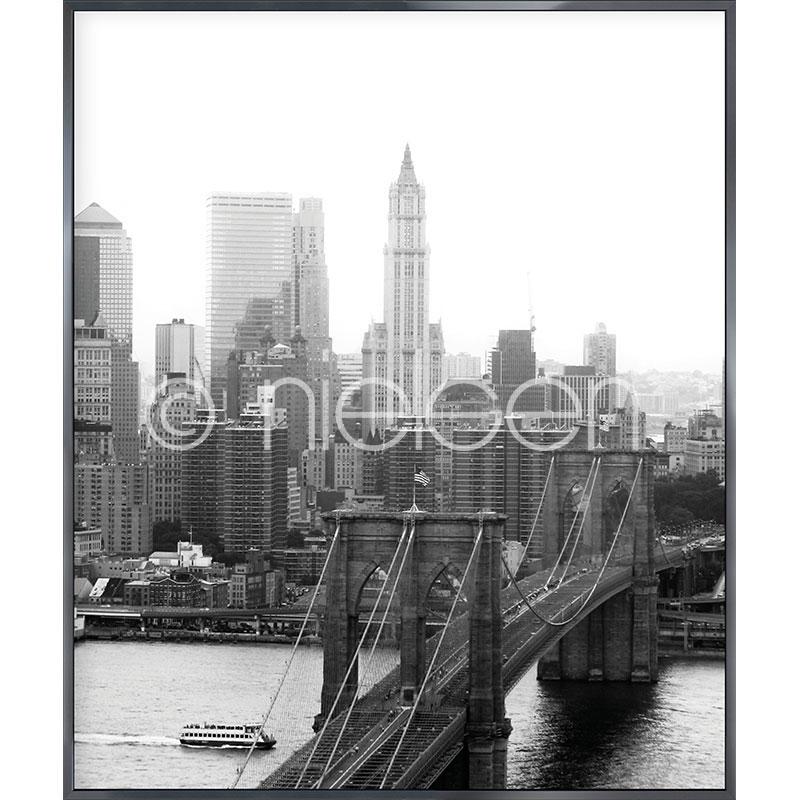 """Beeld met lijst """"Brooklyn Bridge"""" met lijst van aluminium Alpha"""