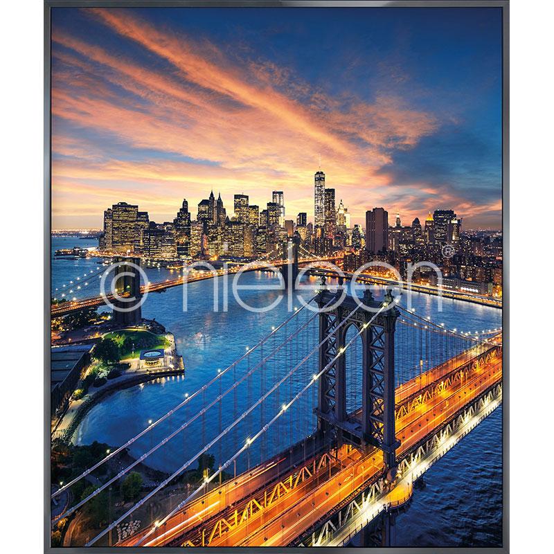 """Beeld met lijst """"New York City Sunset"""" met lijst van aluminium Alpha"""