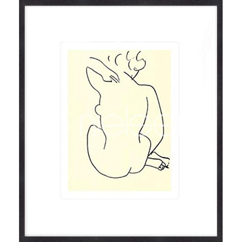"""Beeld met lijst """"Nu, 1949 con Matisse"""" met lijst van hout Quadrum"""