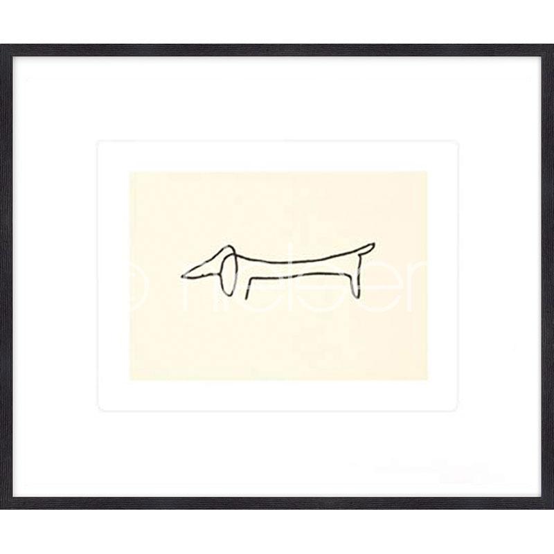 """Beeld met lijst """"Le chien Picasso"""" met lijst van hout Quadrum"""