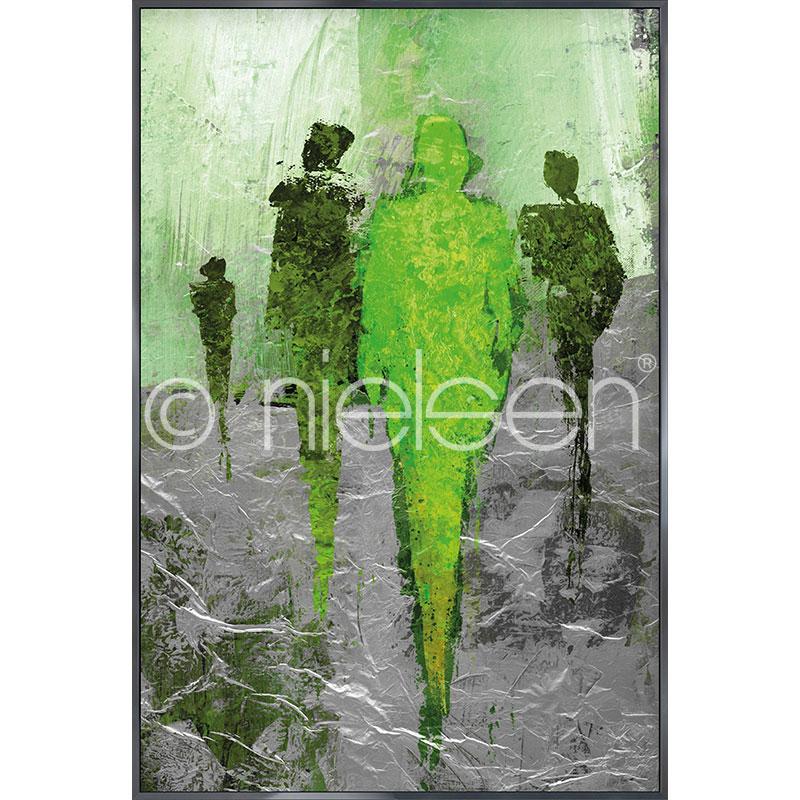 """Beeld met lijst """"Abstract Figures Green"""" met lijst van aluminium Alpha"""