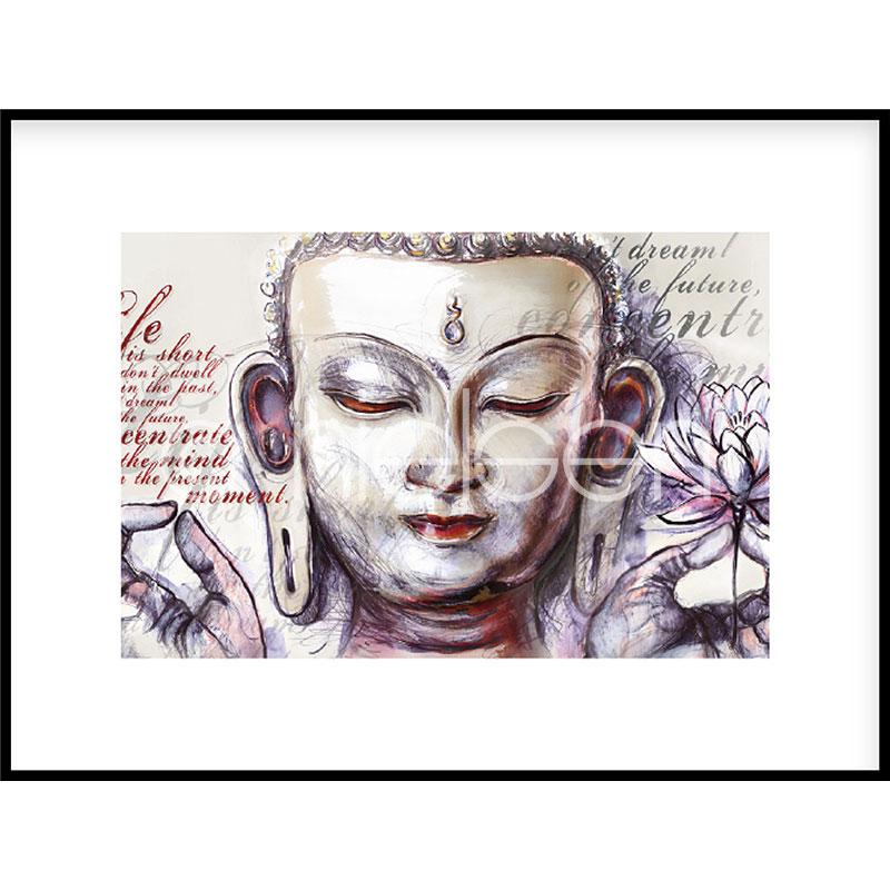 """Beeld met lijst """"Buddha Pearcing"""" met lijst van aluminium C2"""