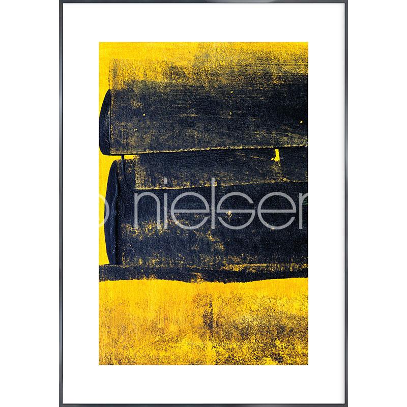"""Beeld met lijst """"Abstract Yellow"""" met lijst van aluminium Alpha"""