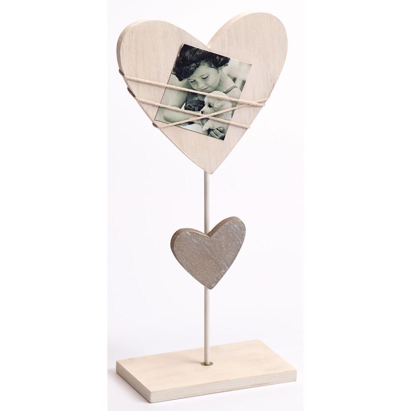Fotolijst Bella, wit, vorm van hart met sokkel